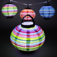 18cm LED Striped Paper Lantern